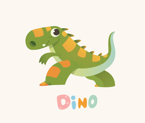 Cute Green Cartoon Baby Dino. Bright Colorful dinosaur. Childrens illustration. Isolated. Vector