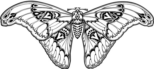 Butterfly in art nouveau style Wall mural