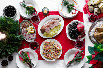 Flat-lay of festive table setting for holiday dinner