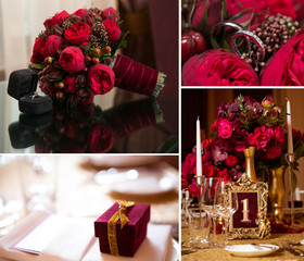 Collage of wedding photos. Bridal bouquet, dress, beautiful decoration, flowers and floral, ceremony