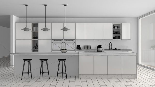 Unfinished project draft of modern minimalist white and wooden kitchen with island and big panoramic window, parquet, pendant lamps, contemporary architecture interior design