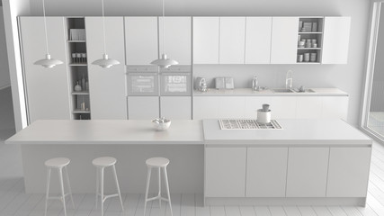 Total white project of modern minimalist kitchen with island and big panoramic window, parquet, pendant lamps, contemporary architecture interior design, top view
