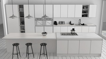 Unfinished project draft of modern minimalist white and wooden kitchen with island and big panoramic window, parquet, pendant lamps, contemporary interior design, top view
