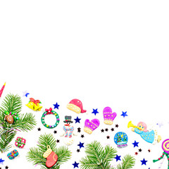 Merry Christmas greeting card with decorations. Santa, Christmas train with tree and sweets, snowman, reindeer and gifts
