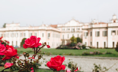 Varese OCT 2018 ITALY - flowers against the Estense Palace, or Palazzo Estense.