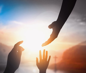 Peace concept: the hand of Christ Jesus helping