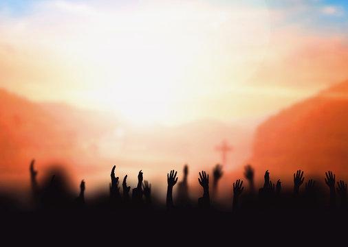 Worship concept: worship and praise God