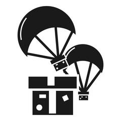 Donation parachute box icon. Simple illustration of donation parachute box vector icon for web design isolated on white background