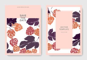 Purple, red and orange engraved ink art. Green leaf. Wedding background card. Save the date elegant card.