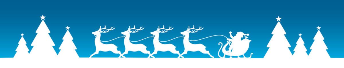 Banner Christmas Sleigh Forest Blue/White