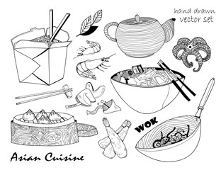 Asian cuisine. Hand drawn graphic vector set. All elements are isolated