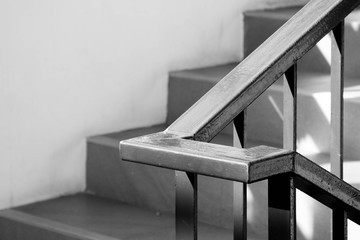 closeup steel staircase in residential house - monochrome