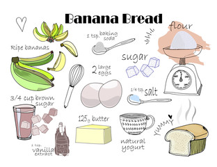 Banana bread recipe. Hand drawn vector ingredients. All elements are isolated