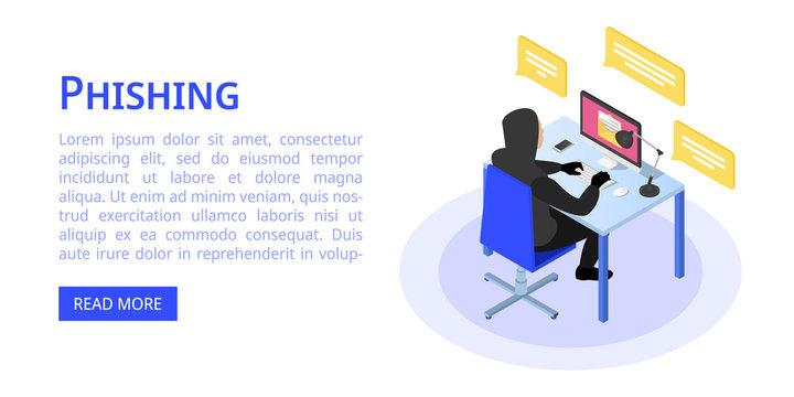 Hacker phishing banner. Isometric illustration of hacker phishing vector banner for web design