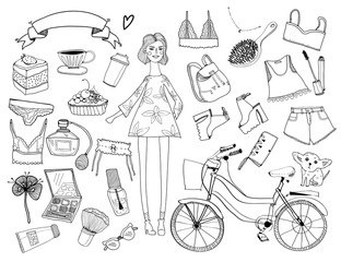 Hand drawn stylish girl and various stuff. Graphic vector set. All elements are isolated