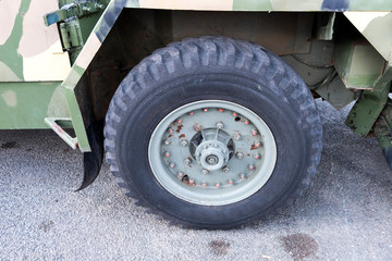 Big rubber army lorry tyre