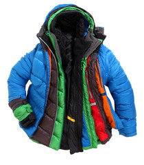 Colorful winterjackets one above the other layered clothing