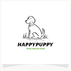Happy Puppy Logo Design Template
