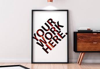 Black Frame on Wooden Floor Mockup