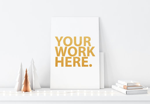 Vertical Canvas and Holiday Decorations Mockup