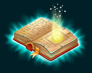 Isometric book of magic spells and witchcraft for computer game. Fairy tale icon in cartoon style. Vector illustration.