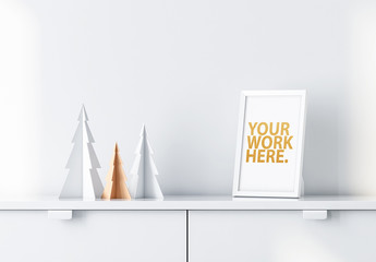 White Frame on Shelf Mockup