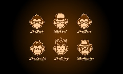 Monkey head logo collection - ape face vector set