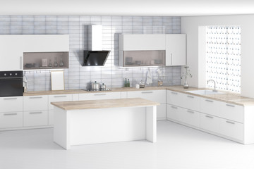 White modern kitchen interior 3d rendering