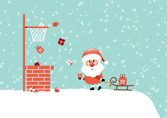 Fototapete - Santa Roof Sleigh Basketball Snow Retro