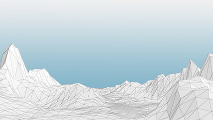 3D Illustration of a Low poly mountains landscape