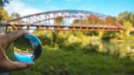 Crystal ball landscape shot at Landau - Isar - Bavaria - Germany