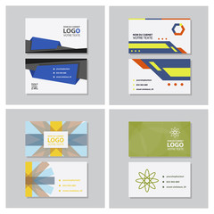 Set of modern simple light business card template with flat user interface