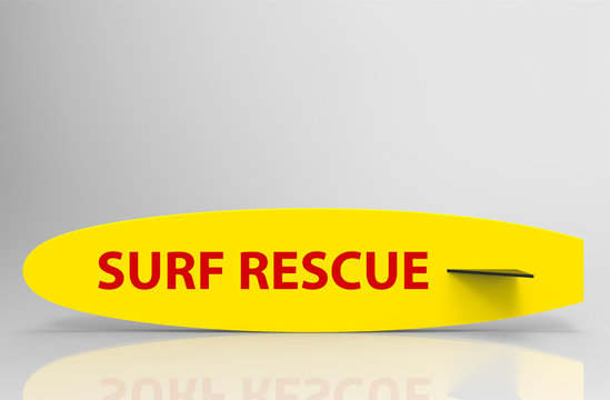 3d rendering. Surf Recue word on yellow surfboard with clipping path on gray background.