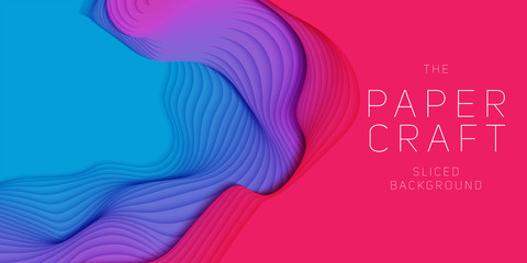 Vector 3D abstract background with paper cut neon shape. Colorful carving art. Paper craft Antelope canyon landscape with gradient colors. Minimalistic design for business presentations, flyers.