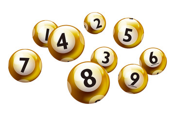 Vector Bingo Lottery Number Golden Balls 1 to 9 Set Isolated on White Background.