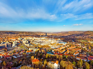 Jena Thuringia from above with a view towards the city center