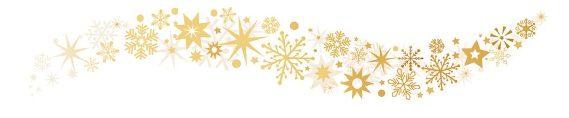 Weihnachten und goldene Sterne auf weißem Hintergrund - Sternenbanner Vektor Illustration