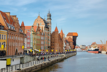 Zuraw Crane and colorful buildings on Motlawa river, Gdansk, Poland