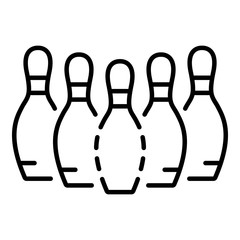 Bowling pins icon. Outline bowling pins vector icon for web design isolated on white background