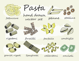 Hand drawn various sorts and shapes of pasta. Colored graphic vector set. All elements are isolated