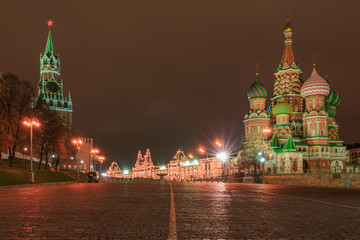 Saint Baisil's Cathedral in Moscow at night