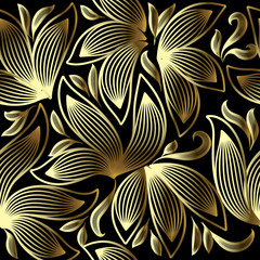 Gold 3d floral vector seamless pattern. Line art tracery hand drawn striped paisley flowers. Ornamental abstract flourish background. Modern repeat doodle ornament. Vintage decorative ornate design