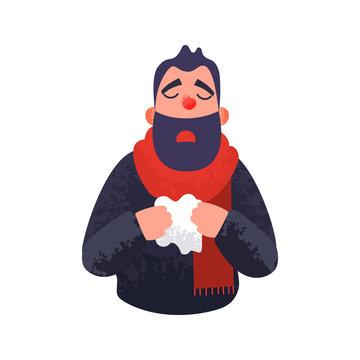 The man has a cold. Flu ill sick concept.