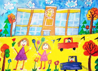 Children drawing happy family, house, car