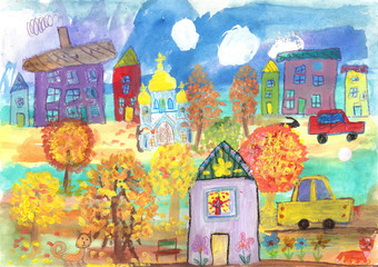 Watercolor painting golden autumn, buildings, cars