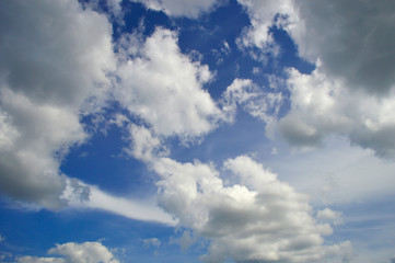 Beautiful textural clouds on a blue sky background