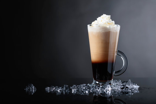 Cold coffee drink with cream.