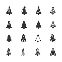 Vector image set of Christmas trees icons.