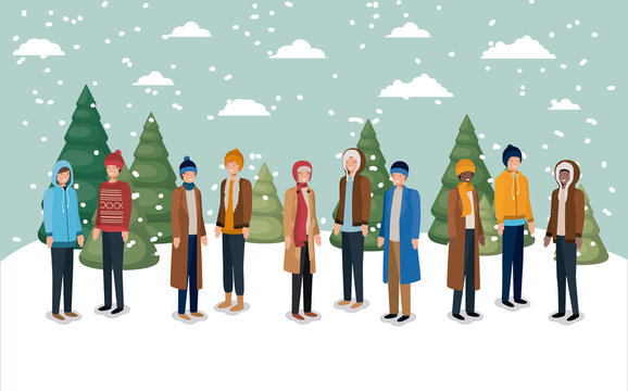 group of men in snowscape with winter clothes