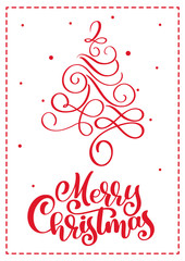 Christmas scandinavian greeting card with merry Christmas calligraphy lettering text. Hand drawn vector illustration of vintage Christmas tree. Isolated objects